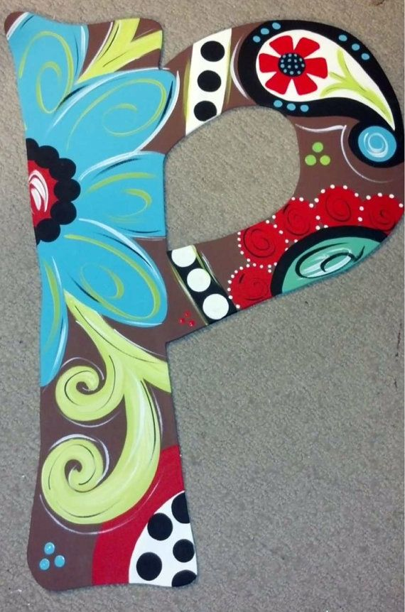 Wood letter door hanger with chocolate background !! LOVE THE COLORS