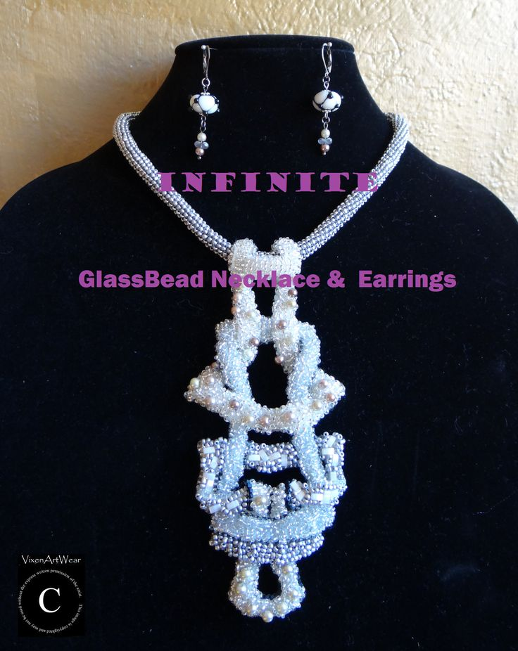 Infinite Glass bead Necklace & Earrings, #pearl #beaded #necklace #lampworked