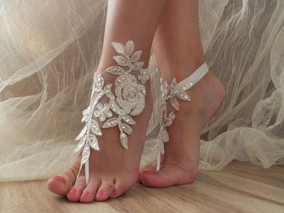 Free Ship ivory silver lace barefoot sanddals by ByMiracleBridal