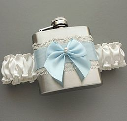 Satin & Lace FLASK GARTER -- Ivory and Light Blue -- Ready to Ship -- Garter…