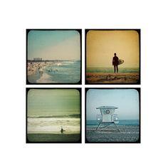 Jeu de surfeur photographie, décor de plage, Summertime rivages - ensemble de 4 photos de 5 x 5, cadeaux pour lui, surfeurs