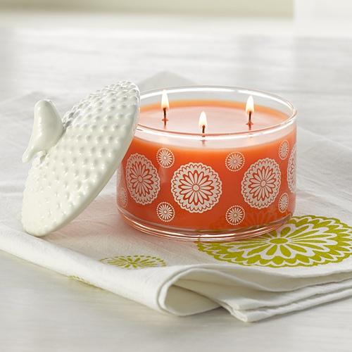 ohhh...a three wick Mandarin Coriander! Pin-It-To-Win-It: Thymes Mandarin Coriander 3-Wick Candle & Bird Lid