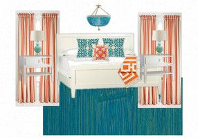 Turquoise and Tangerine Bedroom