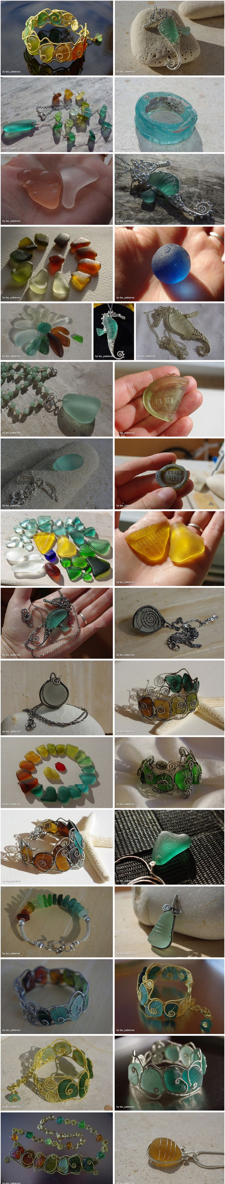 Seaglass & Wire Bangles and other jewelry by Las Palmeras (pics only)