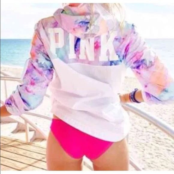 Pink windbreaker NEW watercolor Sold out Victoria secret pink watercolor wind breaker spring 2016 collection size m/l never worn bought online took out of packaging to try on. Does not have tags when you order from Victoria secret online tags are not attached.....make me an offerNO TRADES PINK Victoria's Secret Jackets & Coats