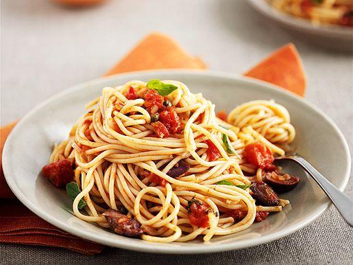 Спагетти с помидорами и баклажанами