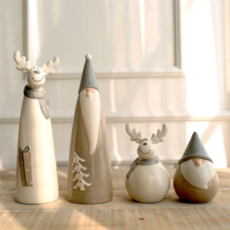 Zakka Stuff - Miz Home 1 Piece Ceramic Christmas Decor Doll for Home Santa Claus And Deer Gift for Friend NAR01001.