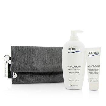 Biotherm Body Care X Mandarina Duck Coffret: Anti-Drying Body Milk 400ml + Cleansing Shower Milk 75ml + Clutch Bag 2pcs+1bag