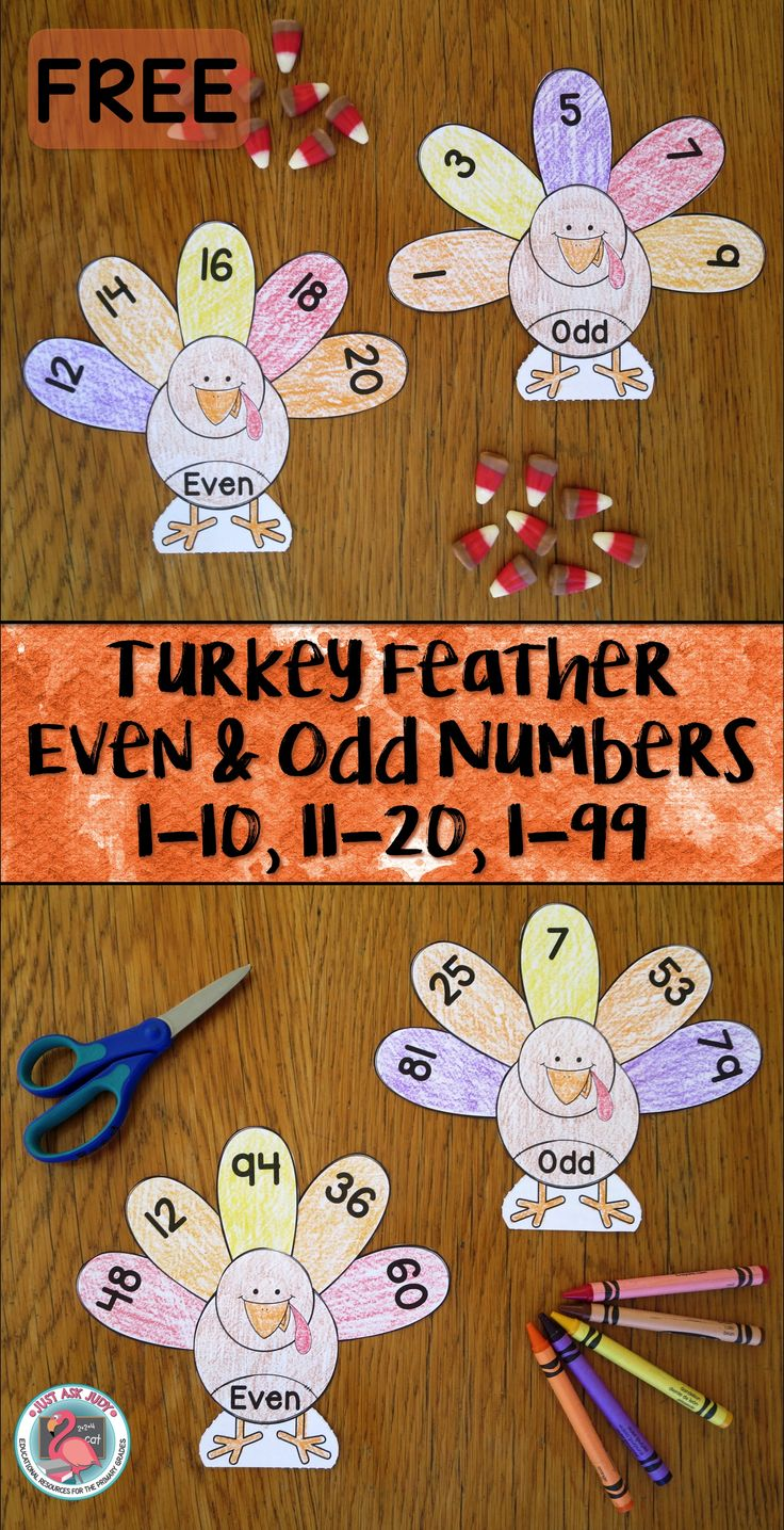 This is a FREE turkey themed resource for sorting even and odd numbers 1-10, 11-20, or 1-99. It is appropriate for first and second grades. These black/ white turkey bodies and feathers are perfect for a cut and paste activity.