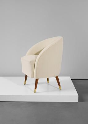 Artist: Gio Ponti Title: Early armchair Medium: Stained walnut, fabric…