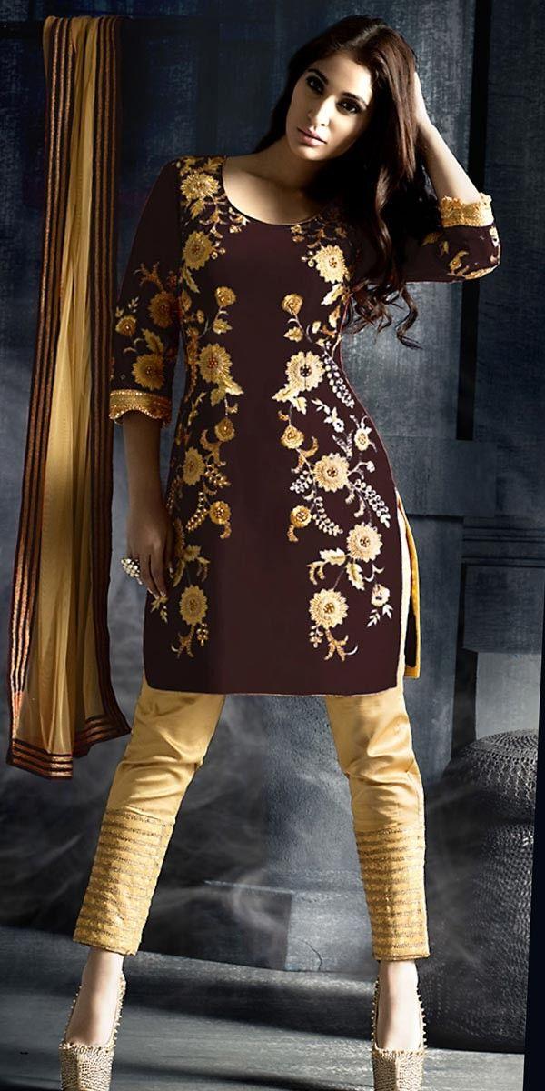 Wondrous Brown Silk Straight Suit With Dupatta.
