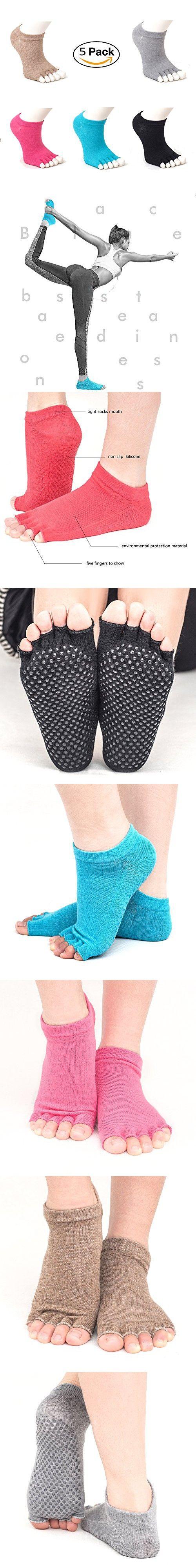 Non Slip Skid Toe Socks for Women & Men( 5 Pairs) - Grips for Yoga, Pilates, Barre - Toeless
