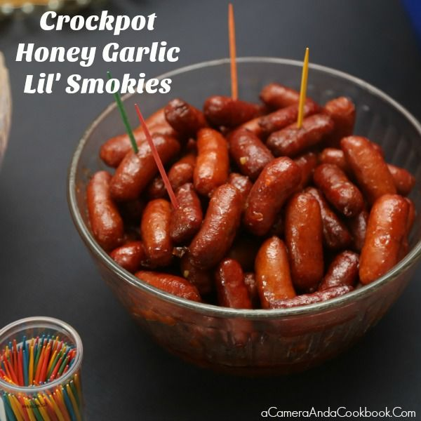 This Crockpot Honey Garlic Lil' Smokies recipe is really easy. Just throw the ingredients in your slow cooker a couple hours before your party.