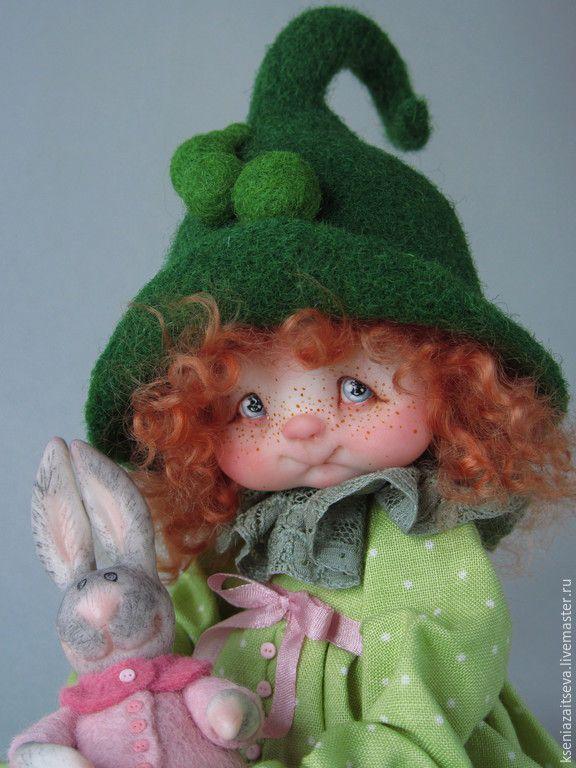 """Купить """"Горошинка Пиа"""" - зеленый, авторская кукла, коллекционная кукла, кукла ручной работы"""