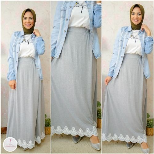 gray maxi skirt with denim shirt- Summer hijab fashion for teens http://www.justtrendygirls.com/summer-hijab-fashion-for-teens/