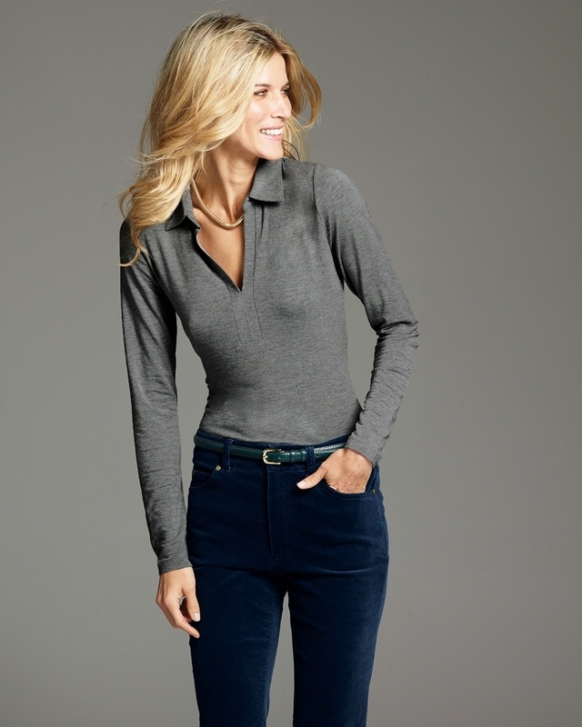 Cashmere Blend Long Sleeve Collared Top