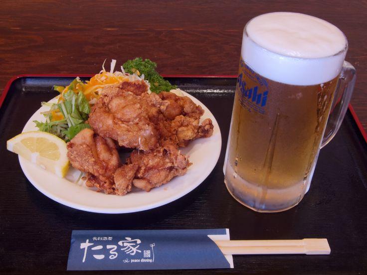 たる家: 唐揚げ+生ビール (1,100円相当)