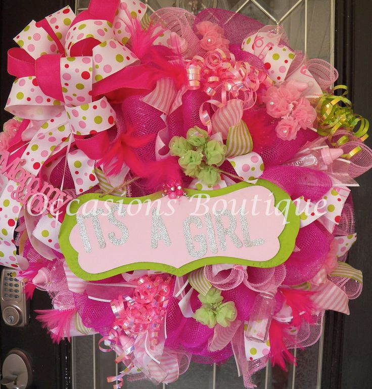 17 best images about baby wreaths on pinterest its a for Baby shower front door decoration ideas