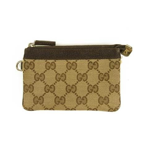 Gucci monogram & Brown Leather Coin Purse Mini wallet pouch clutch