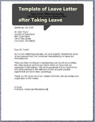 Template of Leave Letter after Taking Leave Careers \ Jobs - how to write an leave application