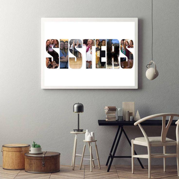 Personalised Sisters Photo Art Collage, Custom Photo Gift, Custom Picture Collage, Photo Gifts, Personalised Letter, Custom Photo Collage