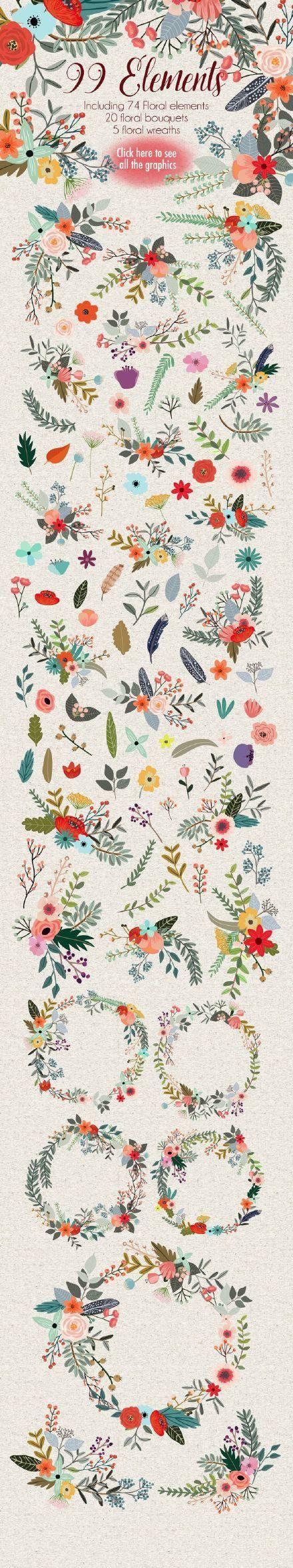 【资源】花环植物各种森系唯美小清新手帐资源