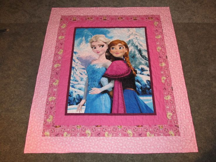 "Anna and Elsa Quilt - 51"" x 57""  - In pink's - Disney's Frozen Quilt by TheKingsQuiltShop on Etsy https://www.etsy.com/listing/257476576/anna-and-elsa-quilt-51-x-57-in-pinks"
