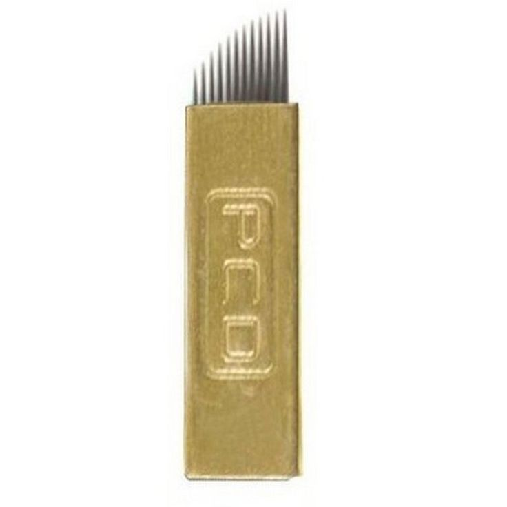 10 adet 12/14 Pins Düz Bıçakları Profesyonel Kalıcı Makyaj Kaş Kalem Manuel dövme malzemeleri Için Dövme İğneler