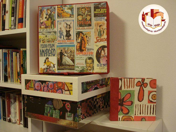 Scatole in cartone, rivestite con preziose stoffe ed esotiche carte. Creato da noi: www.rilegoerileggo.org