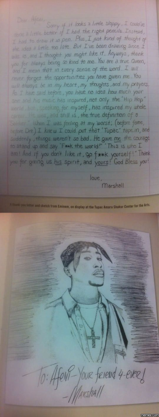 Eminem's Letter To Tupac's Mother
