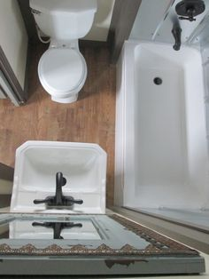 Make Photo Gallery small pact bathroom VERY efficient layout Like the stainless steel tub surround