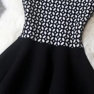 Knitted Dress In Black And White