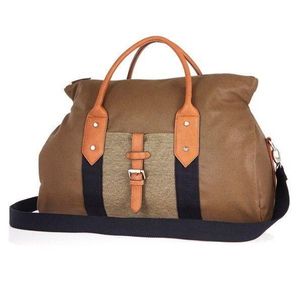 Two-Tone Hybrid Vegan Leather Holdall Bag