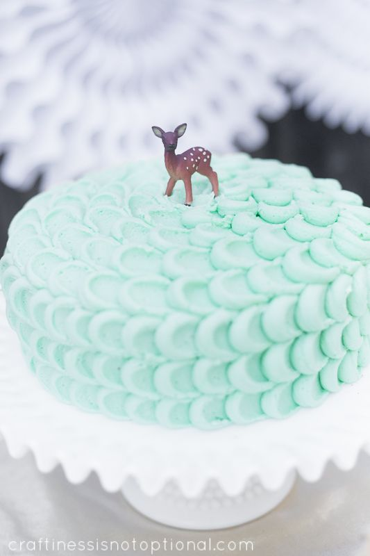 Deer themed winter party cake. Cutenessssss and the best colour