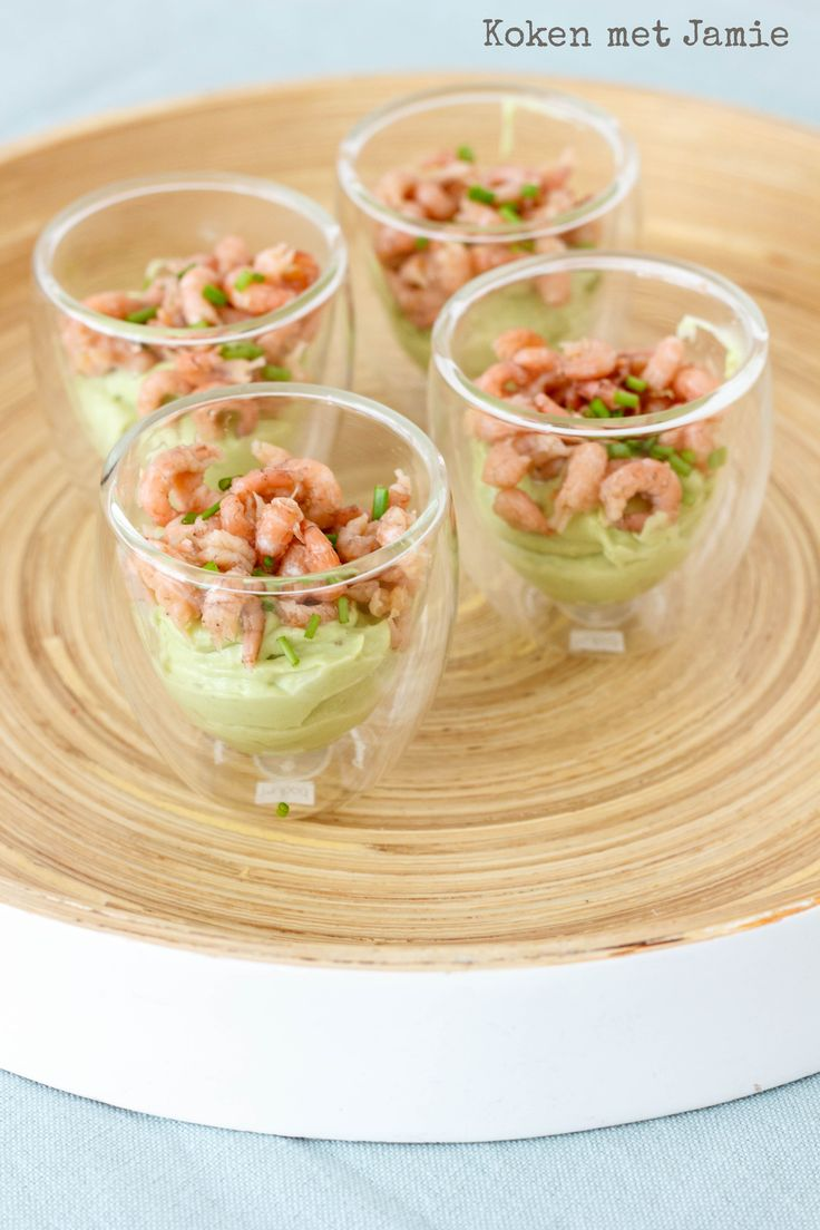 Amuse van avocado en Hollandse garnalen