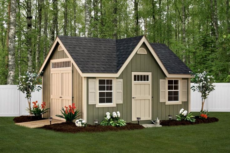 Deluxe Classic 12′ x 16′ • Avocado green siding, almond trim and doors, black architectural shingles Options • Larger windows, shutters, gable vents, extra side door, dormer and transom windows.