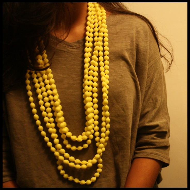 Yellow long pop pom necklace