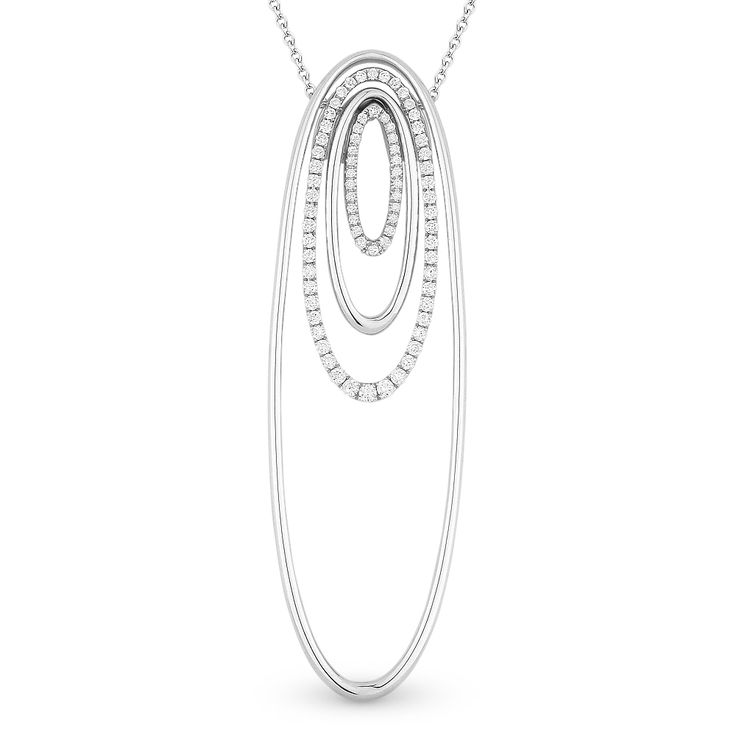 0.43ct Round Cut Diamond Pave Oval-Stack Pendant & Chain Necklace in 14k White Gold - AlfredAndVincent.com