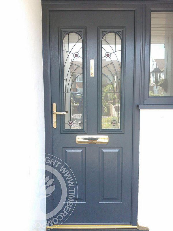 Nottingham Solidor Composite Door by Timber Composite Doors in Anthracite Grey