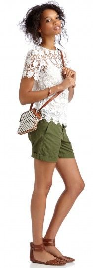 Don't normally like the lace tops with shorts combination, but this us really cute