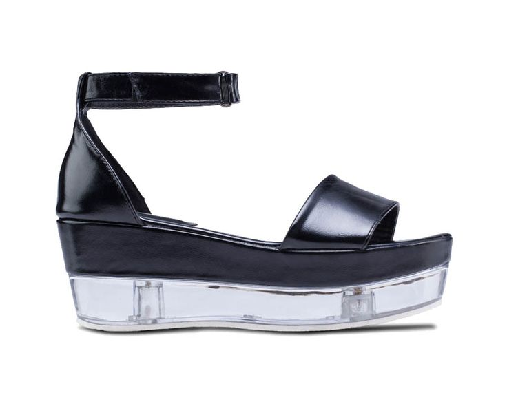 Transparent Platform Sandals by Something Borrowed. Unique sandals with black straps and transparent heels, made from good material, open toe, single strap, insole and out sole, velcro fastening, this clear heel sandals look so edgy. Perfect for your urban style! http://www.zocko.com/z/JJJFq