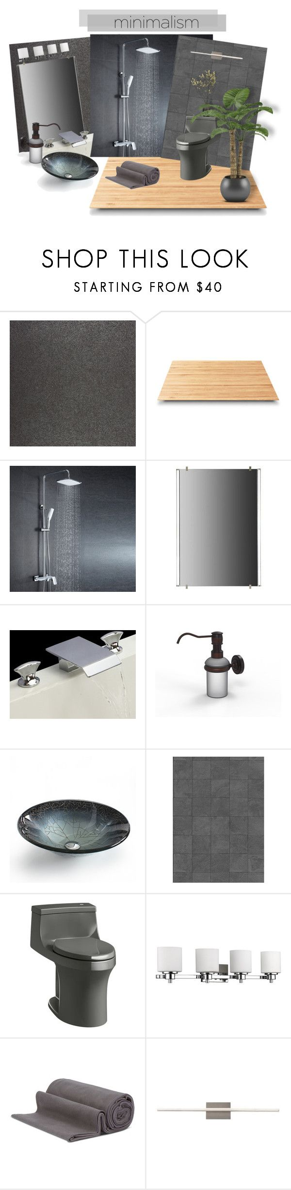 """Modern Bath Minimalist style"" by riri-thatsme ❤ liked on Polyvore featuring interior, interiors, interior design, home, home decor, interior decorating, Casadeco, Suki Cheema, Tech Lighting and Allied Brass"