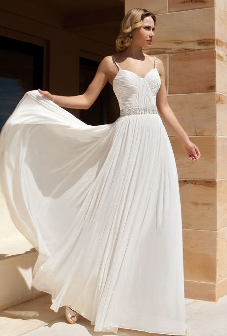 Brides: Demetrios - Destination Romance . Chiffon, A-line gown with spaghetti straps, asymmetrical ruching on bodice and beaded band on waist. Skirt features chapel train.