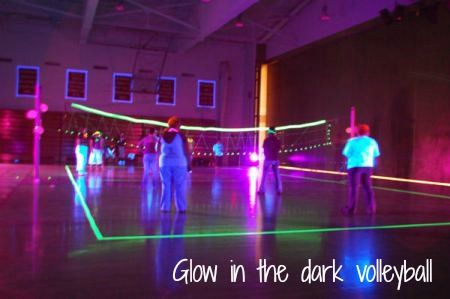 Glow in the dark volleyball -- great for a team party or a black light party!