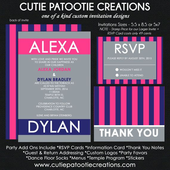 B'Nai Mitzvah Invitation - Navy and Hot Pink - Reply Card - Reception Card - Information Card - Thank You Note CUSTOM for ANY EVENT