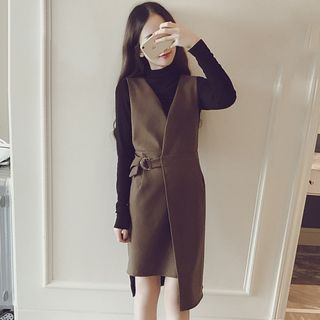 Buy Ashlee Set: Asymmetric Hem V-Neck Pinafore Dress + Plain Long Sleeve T-Shirt at YesStyle.com! Quality products at remarkable prices. FREE WORLDWIDE SHIPPING on orders over US$ 35.