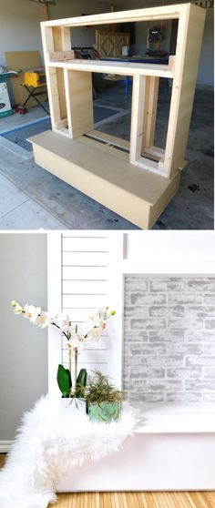 Shiplap Faux Fireplace with Faux brick coated with limewash and chalk paint for the home living room.