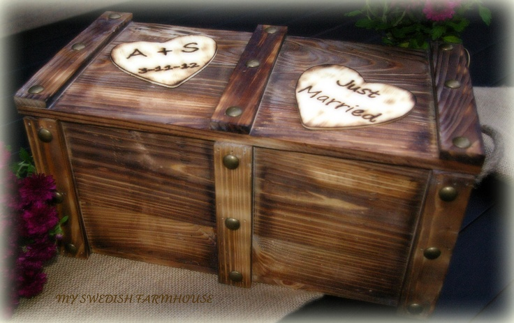 Personalized Card Box Trunk Wine Love Letter Ceremony Anniversary Wedding (YOUR COLOR CHOICE). $89.00, via Etsy.
