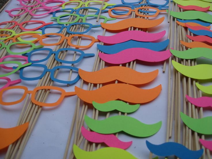 NEON Paper Mustache & Glasses Photo Props, Party Favors. #ONPinParty #ONKidtacular