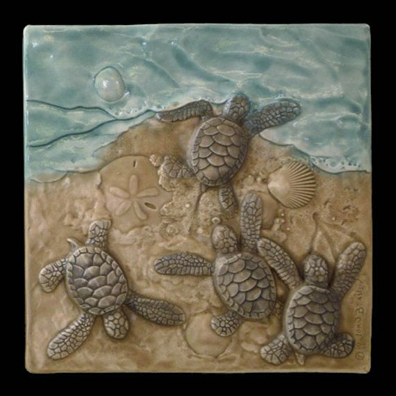Ceramic tile, There's one in every crowd, 6x 6 inches, sculpted Baby Green sea turtles